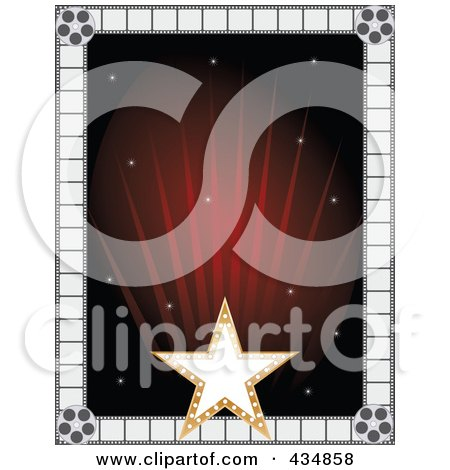 Royalty-Free (RF) Clipart Illustration of a Gold Star And Film Frame Around Red Rays by Maria Bell