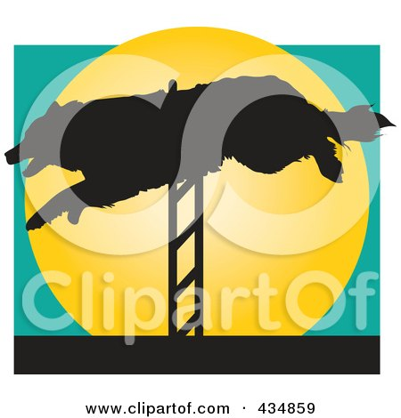 Dog Leaping A Hurdle In An Agility Course Over A Yellow Circle Posters, Art Prints