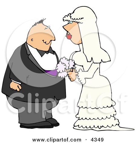 Young Man and Woman Looking at Each Other Before Getting Married Clipart by djart