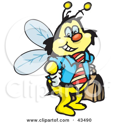 Clipart Illustration of a Honey Bee Character Businessman Carrying A Briefcase by Dennis Holmes Designs
