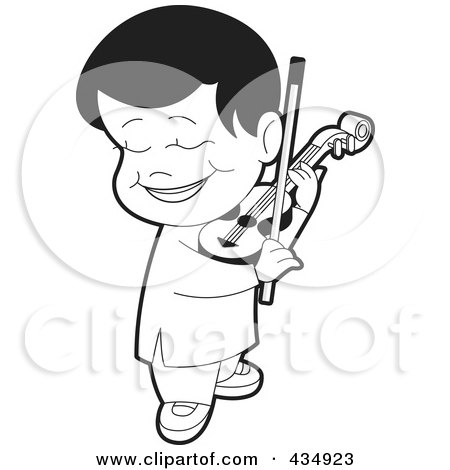 Boy Playing Violin Drawing Outlined Boy Playing a Violin