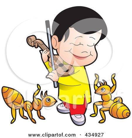 Royalty-Free (RF) Clipart Illustration of a Happy Boy Playing A Violin For Ants by Lal Perera