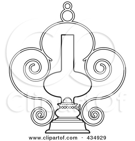 Royalty-Free (RF) Clipart Illustration of an Outlined Ornate Lamp by Lal Perera