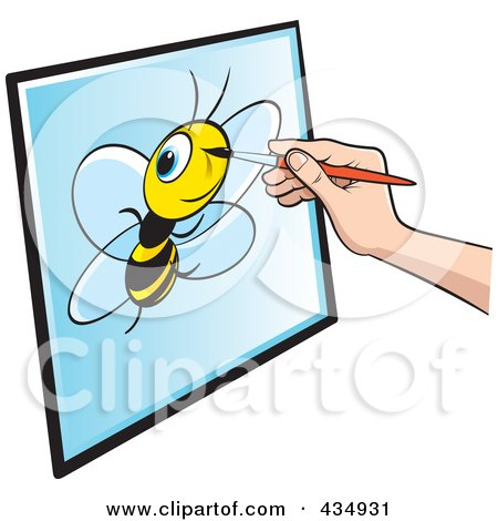 Royalty-Free (RF) Clipart Illustration of an Illustrator's Hand Drawing A Bee by Lal Perera