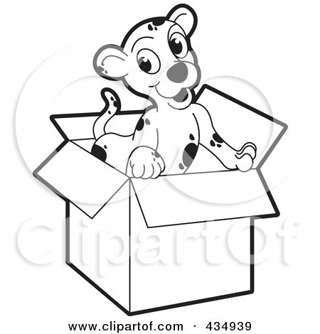 Royalty-Free (RF) Clipart Illustration of an Outlined Puppy In A Cardboard Box by Lal Perera