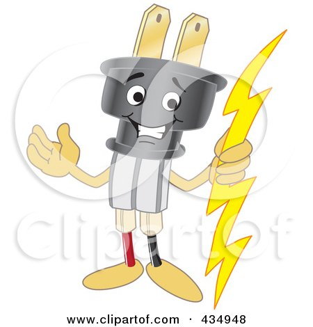 Cartoon Of A Cord With The Plug Royalty Free Vector