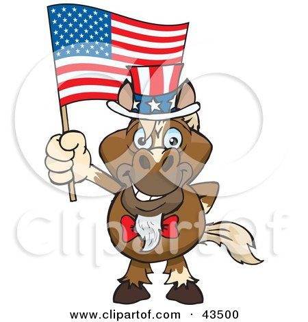 Royalty-free holiday clipart picture of a patriotic Uncle Sam horse waving