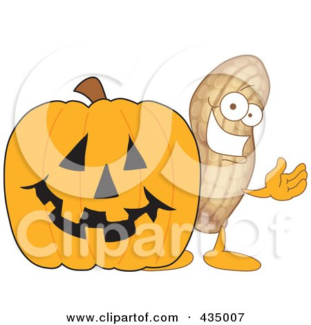 Royalty-Free (RF) Clipart Illustration of a Peanut Mascot With A Halloween Pumpkin by Toons4Biz