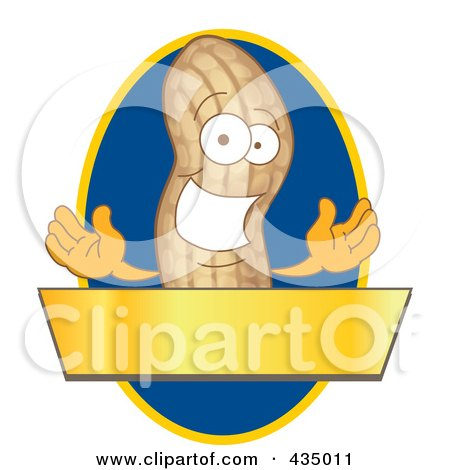 Royalty-Free (RF) Clipart Illustration of a Peanut Mascot Logo With A Blue Oval And Gold Banner by Toons4Biz
