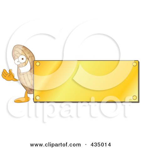 Royalty-Free (RF) Clipart Illustration of a Peanut Mascot Logo With A Gold Plaque by Toons4Biz