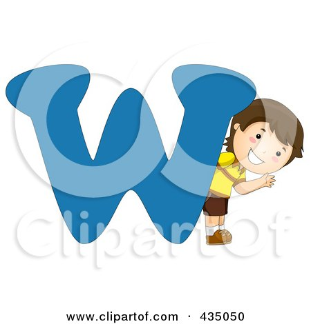 Royalty-Free (RF) Clipart Illustration of a Kid Letter W With A Little Boy by BNP Design Studio