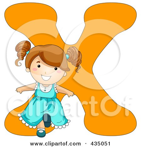 Royalty-Free (RF) Clipart Illustration of a Kid Letter X With A Little Girl by BNP Design Studio