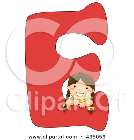 Royalty-Free (RF) Clipart Illustration of a Kid Letter E With A Little Girl by BNP Design Studio