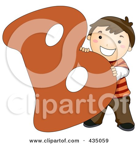Royalty-Free (RF) Clipart Illustration of a Kid Letter B With A Little Boy by BNP Design Studio