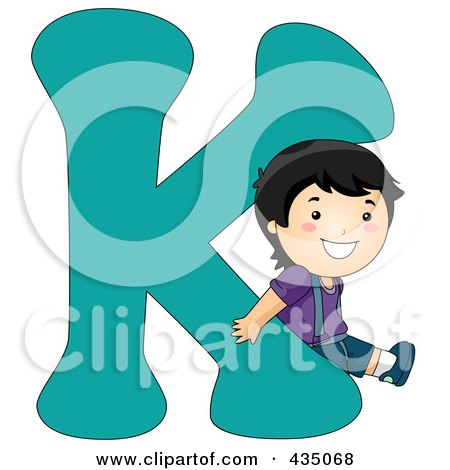 Royalty-Free (RF) Clipart Illustration of a Kid Letter K With A Little Boy by BNP Design Studio