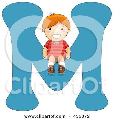 Royalty-Free (RF) Clipart Illustration of a Kid Letter M With A Little Boy by BNP Design Studio