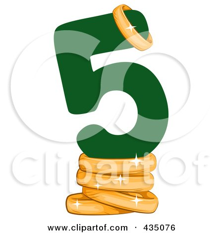 Royalty-Free (RF) Clipart Illustration of a Green Number Five With Golden Rings by BNP Design Studio