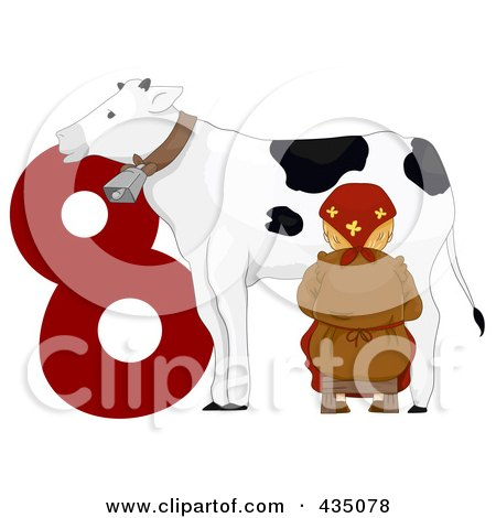 Royalty-Free (RF) Clipart Illustration of a Maid A Milking By A Red Number Eight by BNP Design Studio