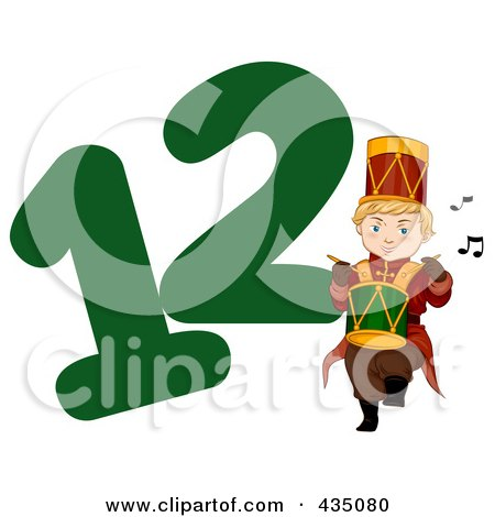 Royalty-Free (RF) Clipart Illustration of a Drummer Drumming By A Green Number Twelve by BNP Design Studio