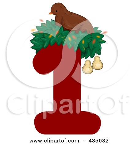 Royalty-Free (RF) Clipart Illustration of a Partridge In A Pear Tree On A Red Number One by BNP Design Studio