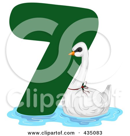 Royalty-Free (RF) Clipart Illustration of a Swan A Swimming By A Green Number Seven by BNP Design Studio