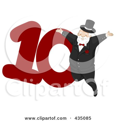 Royalty-Free (RF) Clipart Illustration of a Lord A Leaping By A Red Number Ten by BNP Design Studio