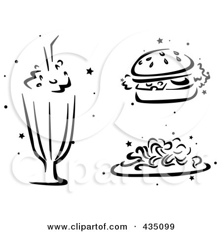 Royalty-Free (RF) Clipart Illustration of a Digital Collage Of a Black And White Stenciled Milkshake, Burger And Spaghetti by BNP Design Studio