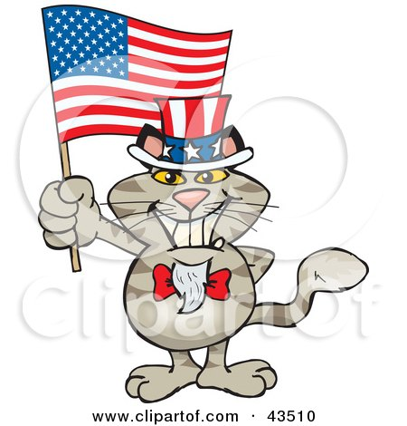 Clipart Illustration of a Patriotic Uncle Sam Cat Waving An American Flag On Independence Day by Dennis Holmes Designs