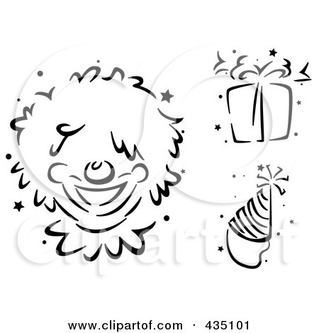 Royalty-Free (RF) Clipart Illustration of a Digital Collage Of Black And White Stenciled Clown, Gift And Party Hat by BNP Design Studio