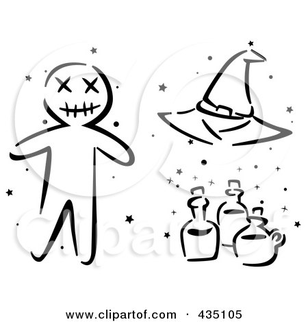 Royalty-Free (RF) Clipart Illustration of a Digital Collage Of A Black And White Stenciled Halloween Voo Doo Doll, Witch Hat And Bottles by BNP Design Studio