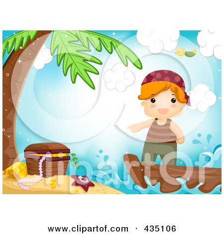 Royalty-Free (RF) Clipart Illustration of a Pirate Boy Pointing To Treasure On An Island by BNP Design Studio