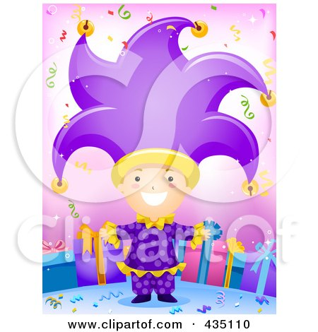 Royalty-Free (RF) Clipart Illustration of a Birthday Boy In A Jester Costume by BNP Design Studio