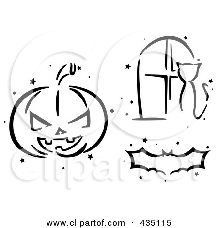Royalty-Free (RF) Clipart Illustration of a Digital Collage Of A Black And White Stenciled Halloween Pumpkin, Bat And Cat In A Window by BNP Design Studio