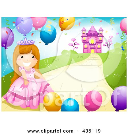 Royalty-Free (RF) Clipart Illustration of a Princess Girl With Party Balloons On A Path Near Her Castle by BNP Design Studio