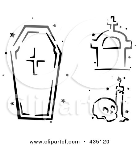 Royalty-Free (RF) Clipart Illustration of a Digital Collage Of A Black And White Stenciled Coffin, Tombstone And Skull by BNP Design Studio