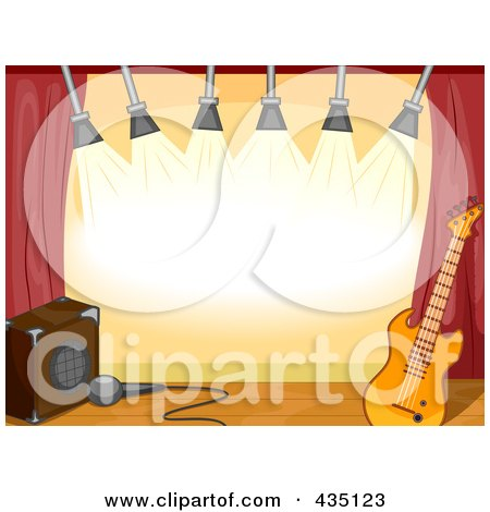 Royalty-Free (RF) Clipart Illustration of a Deserted Stage With A Guitar, Lights And Speaker by BNP Design Studio