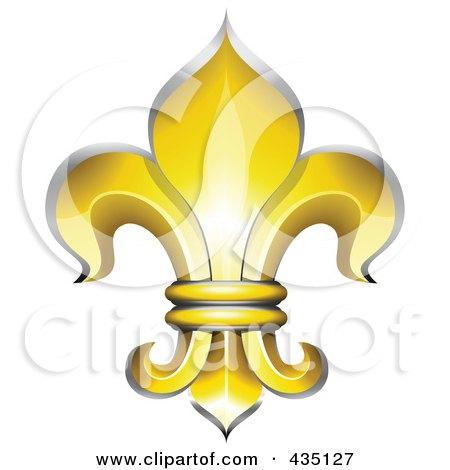 Royalty-Free (RF) Clipart Illustration of a Golden Fleur De Lys Symbol by Oligo