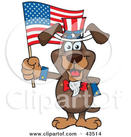 Clipart Illustration of a Patriotic Uncle Sam Dachshund Waving An American Flag On Independence Day by Dennis Holmes Designs