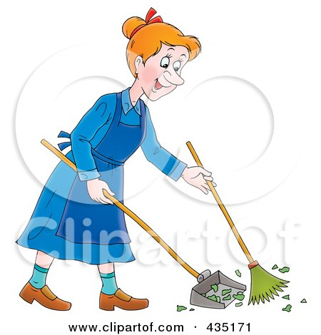 Royalty-Free (RF) Clipart Illustration of a Cartoon Happy Woman Sweeping Up A Mess by Alex Bannykh