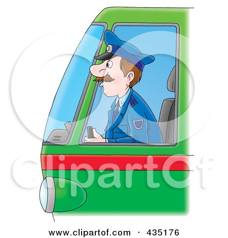 Royalty-Free (RF) Clipart Illustration of a Cartoon Bus Driver by Alex Bannykh