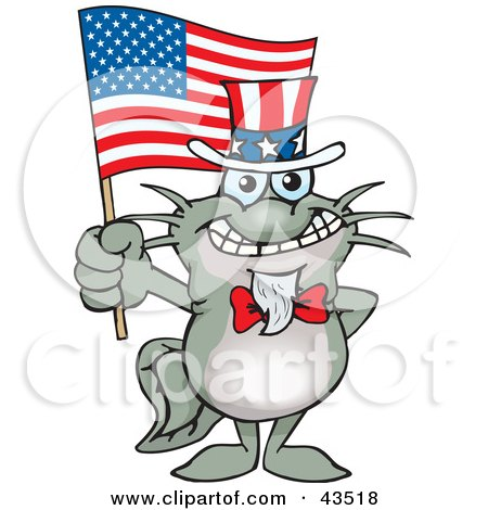 Clipart Illustration of a Patriotic Uncle Sam Catfish Waving An American Flag On Independence Day by Dennis Holmes Designs