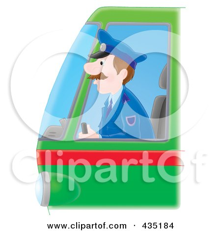 Royalty-Free (RF) Clipart Illustration of a Bus Driver by Alex Bannykh