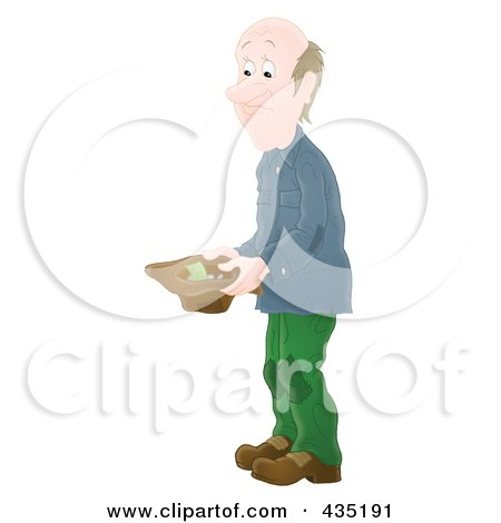 Royalty-Free (RF) Clipart Illustration of an Airbrushed Poor Man Holding A Hat And Asking For Money by Alex Bannykh