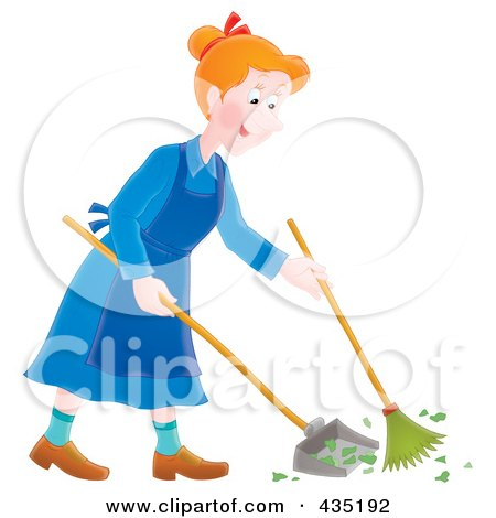 Royalty-Free (RF) Clipart Illustration of a Happy Woman Sweeping Up A Mess by Alex Bannykh