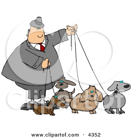 Businessman Walking Four Dogs On Leashes Clipart by djart