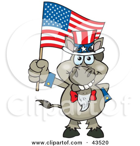 43520-Clipart-Illustration-Of-A-Patriotic-Uncle-Sam-Donkey-Waving-An-American-Flag-On-Independence-Day.jpg