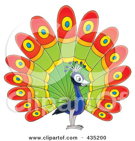 Royalty-Free (RF) Clipart Illustration of a Cartoon Happy Peacock by Alex Bannykh