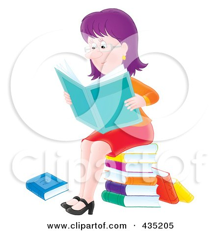Royalty-Free (RF) Clipart Illustration of an Airbrushed Purple Haired Woman Sitting On A Stack Of Books And Reading The News by Alex Bannykh