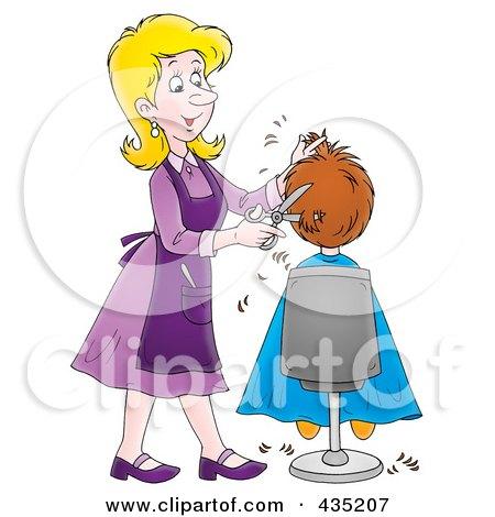 Royalty-Free (RF) Clipart Illustration of a Cartoon Female Hairdresser Cutting A Boy's Hair by Alex Bannykh