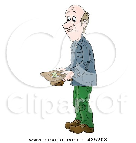Royalty-Free (RF) Clipart Illustration of a Poor Man Holding A Hat And Asking For Money by Alex Bannykh